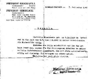 """Opinia wystawiona przez właściciela pensjonatu """"Germania"""" pana Heinricha Franka z dnia 7 września 1940 roku. Zauważył, że byłam słabowita (schwachlich), nie znałam się na tego typu pracy (ihr die Arbeit fremd war); słusznie również zauważył, że byłam uczciwa (stets ehrlich) natomiast jego ocena moich pozostałych walorów nieco mija się z prawdą."""