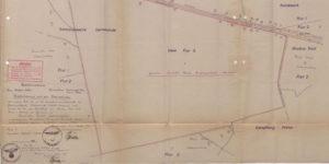 Plan gruntu ( 200 hektarów lasu) przeznaczonego do sprzedaży dla Kriegsmarine, na którym powstała później Bateria Goeben