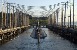 Tak mogła wyglądać demagnetyzacja okrętu podwodnego w bazie w Karsiborze.