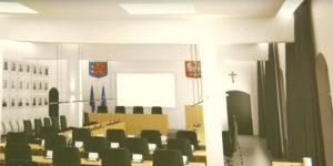 Powstała także druga wizualizacja.  Układ 21 miejsc dla radnych, naczelników wydziałów, dziennikarzy i publiczności.